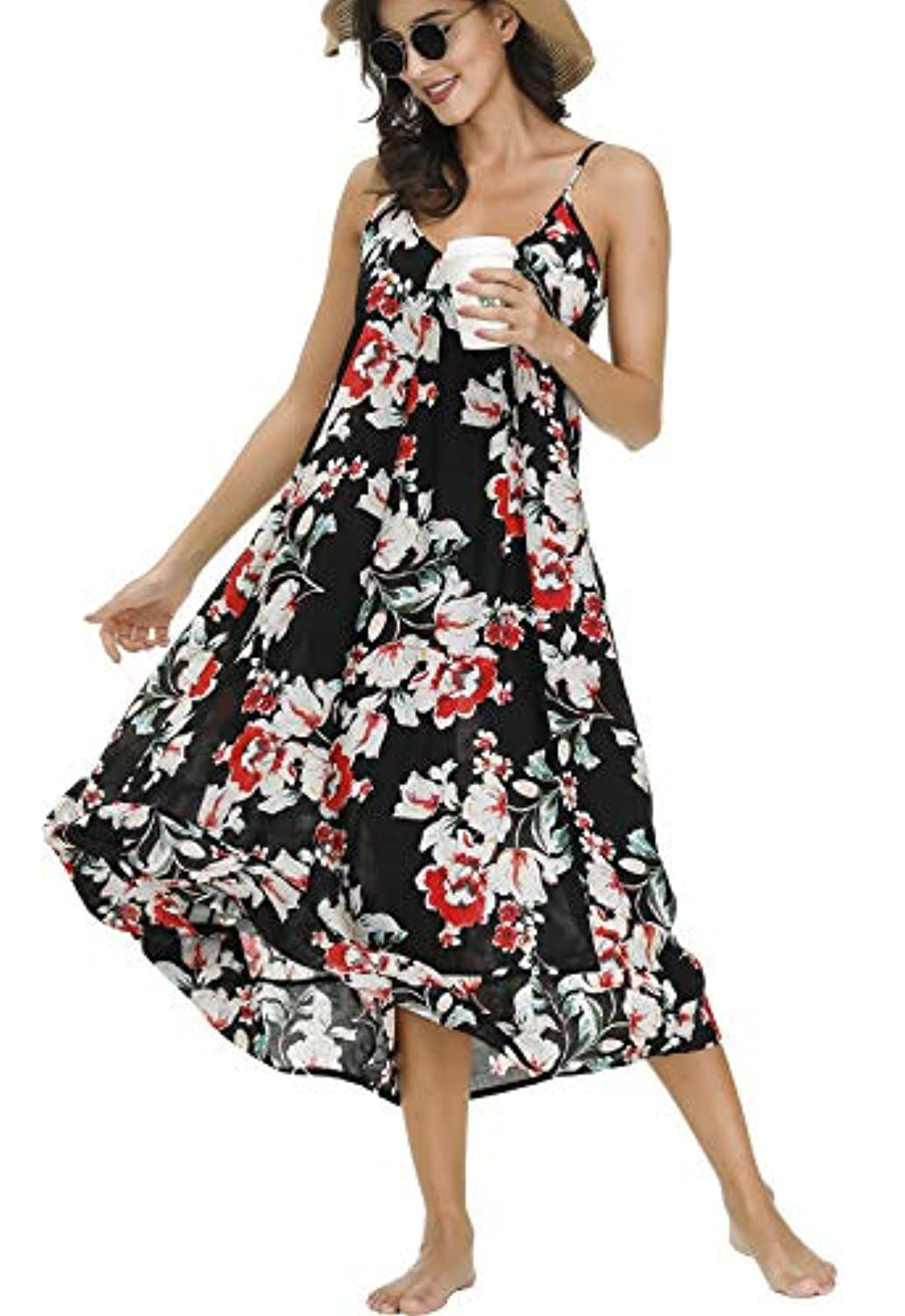 Classier: Buy BUENOS NINOS BUENOS NINOS Women's V Neck Floral Maxi Dress Boho Printed Adjustable Spaghetti Strap Ethnic Beach Long Dress with Pockets