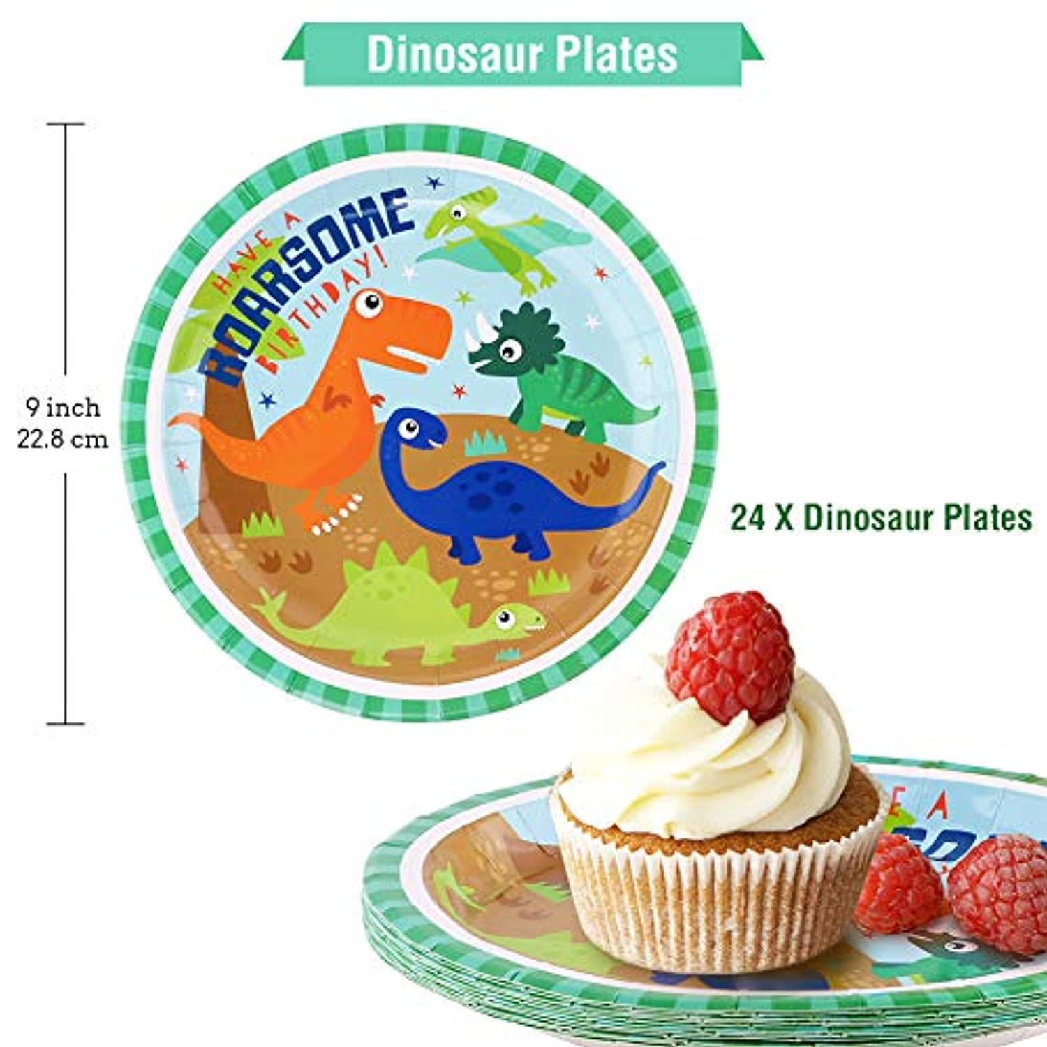 Classier: Buy HAPYCITY HAPYCITY 144Pack Dinosaur Party Supplies Set Serves 24 Perfect Dinosaur Birthday Packs Including Plates Napkins Cups Forks Spoons Knives