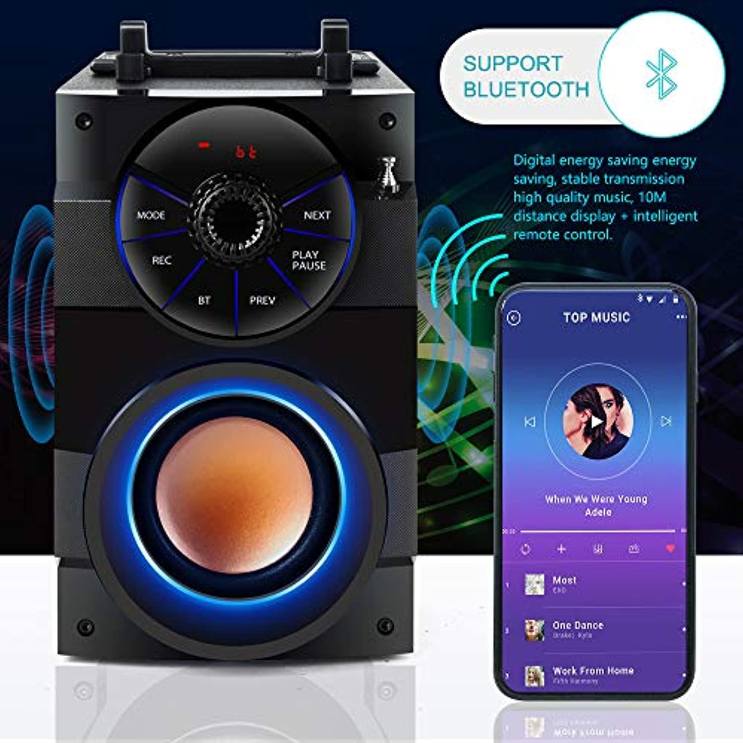 Classier: Buy TAMPROAD TAMPROAD Portable Bluetooth Speakers with Subwoofer Rich Bass Wireless Outdoor/Indoor Party Speakers MP3 Player Powerful Speaker Support Remote Control FM Radio for Phone Computer PC Home TV