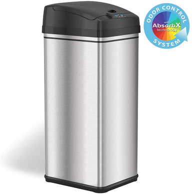 Classier: Buy iTouchless iTouchless 13 Gallon Stainless Steel Automatic Trash Can with Odor-Absorbing Filter and Lid Lock, Sensor Kitchen Garbage Bin, Power by Batteries (not included) or Optional AC Adapter (sold separately)