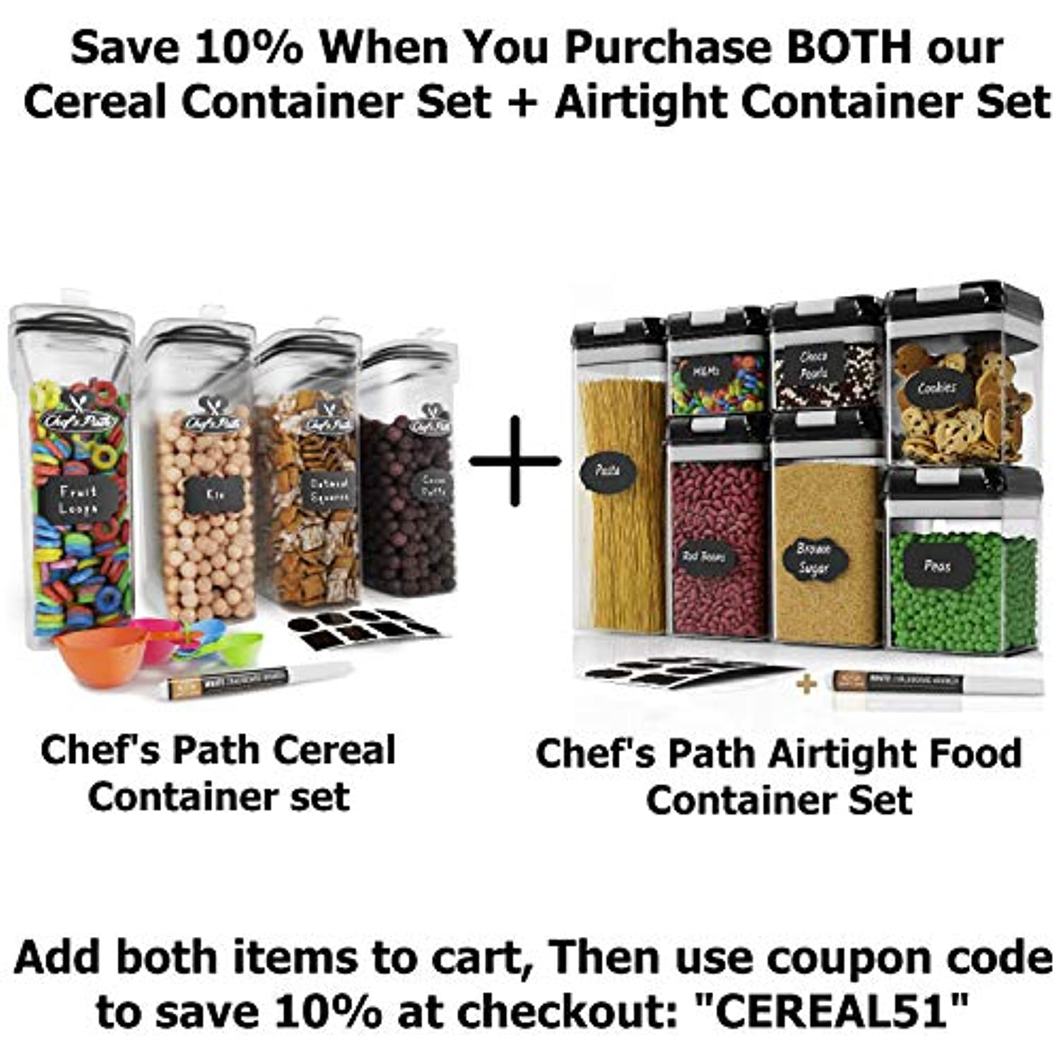 Classier: Buy Chef's Path Chef's Path Airtight Food Storage Container Set - 7 PC Set - Labels & Marker - Kitchen & Pantry Organization Containers - BPA-Free - Clear Plastic Canisters for Flour, Cereal with Improved Lids