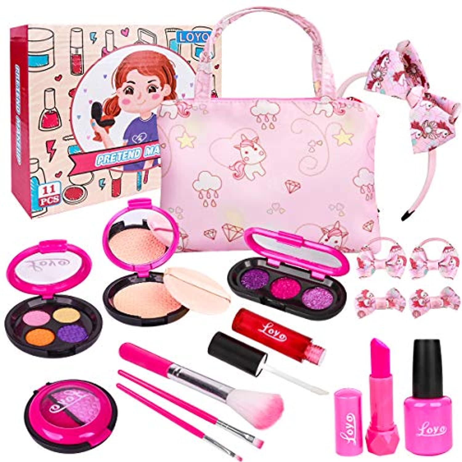 Classier: Buy LOYO LOYO Girls Pretend Play Makeup Sets Fake Make Up Kits with Cosmetic Bag for Little Girls Birthday Christmas, Toy Makeup Set for Toddler Girls Age 2, 3, 4, 5 (Not Real Makeup)
