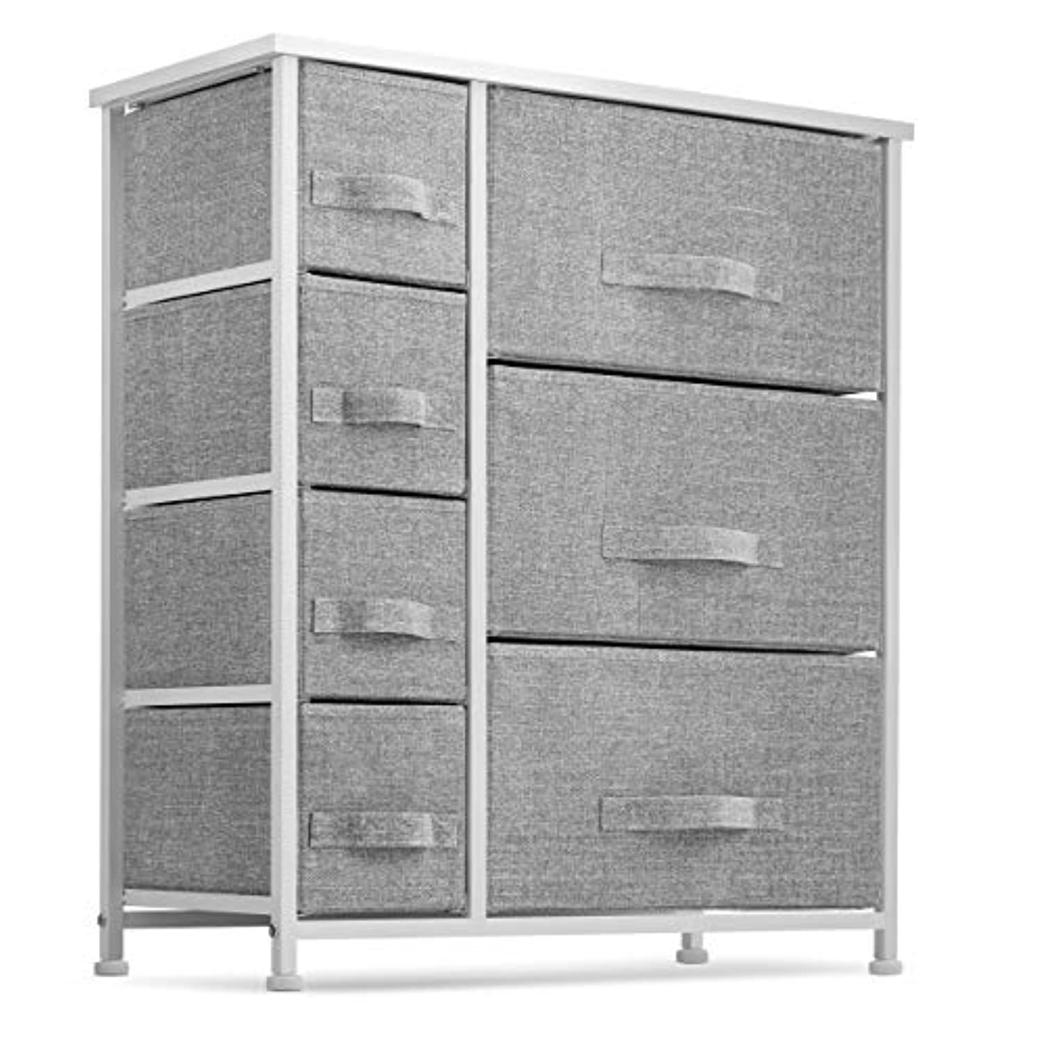 Classier: Buy Seseno 7 Drawers Dresser - Furniture Storage Tower Unit for Bedroom, Hallway, Closet, Office Organization - Steel Frame, Wood Top, Easy Pull Fabric Bins Gray/White