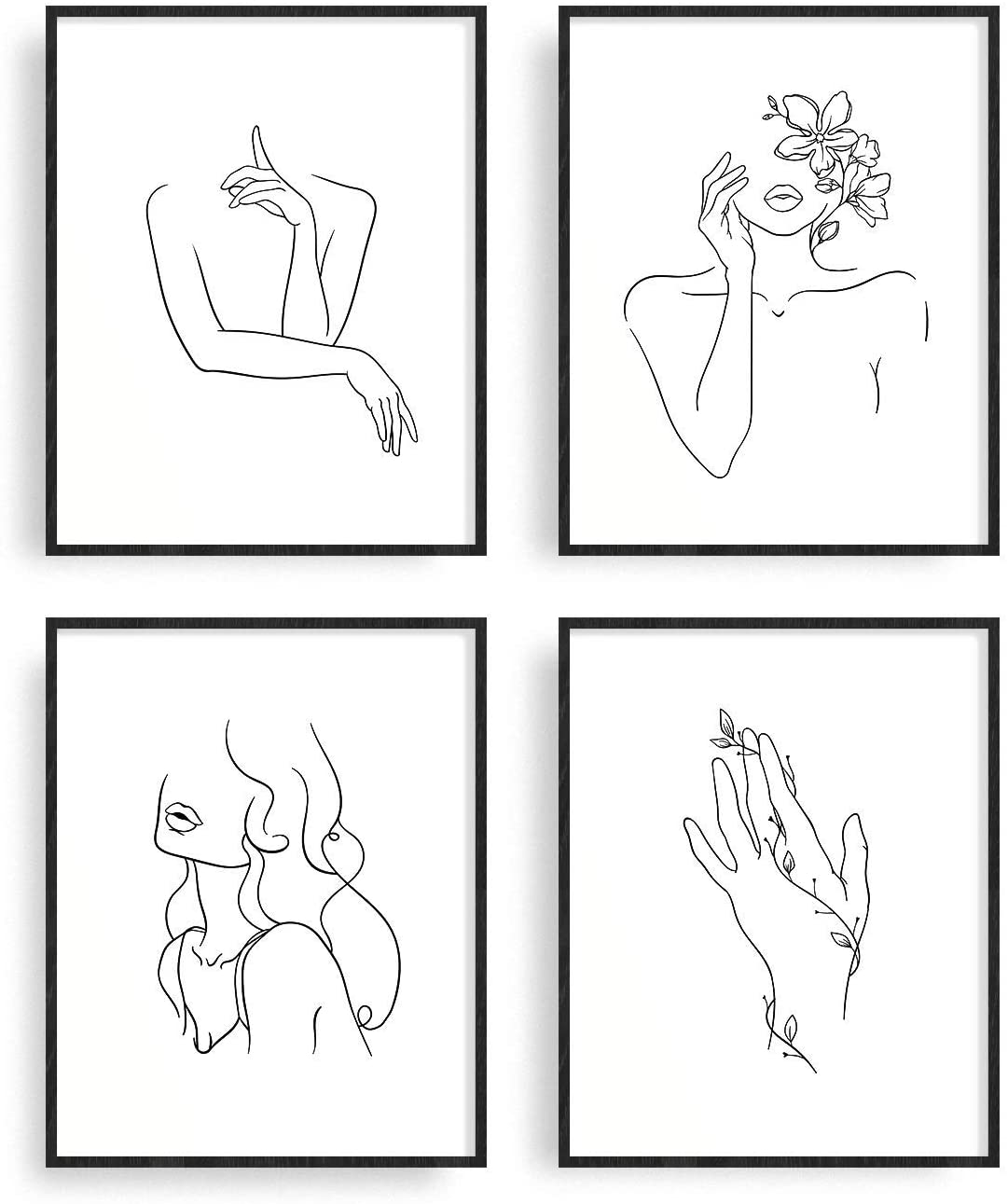 "Classier: Buy RipGrip Minimalist Line Art Prints Set of 4 By Carefree Bee | Aesthetic Art Posters | Wall Art Minimalist Painting | Minimal Wall Art | Drawing Poster | Black/White Prints | Unframed (8"" x 10"")"