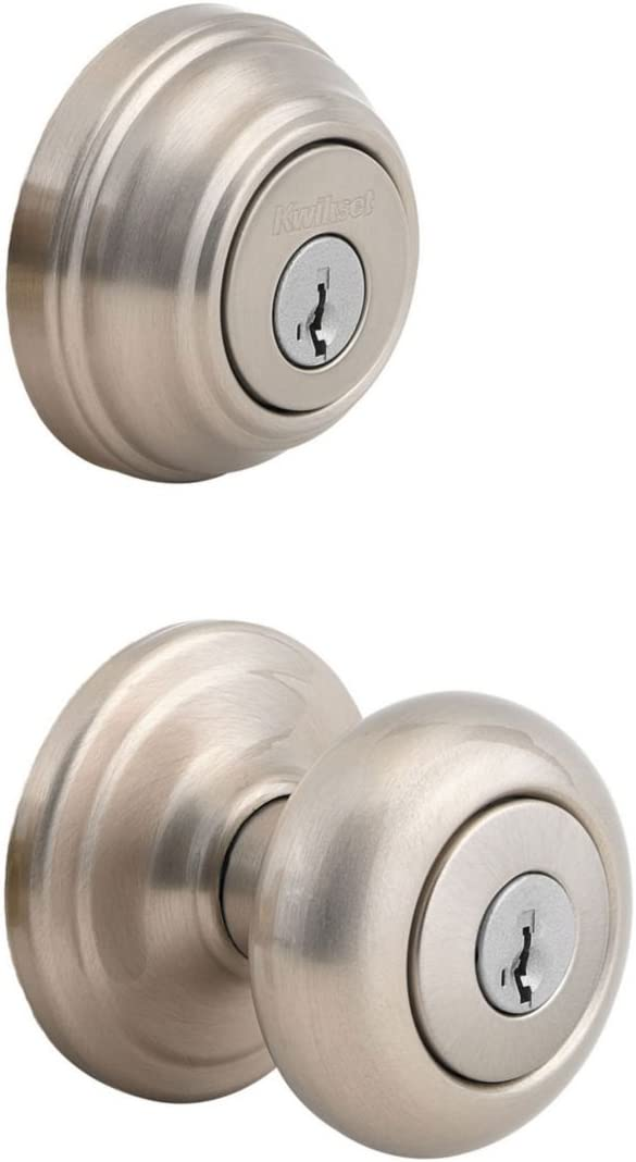 Classier: Buy Kwikset Kwikset Juno Keyed Entry Door Knob and Single Cylinder Deadbolt Combo Pack with Microban Antimicrobial Protection featuring SmartKey Security in Satin Nickel