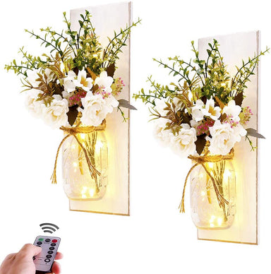 Classier: Buy Homecor Rustic Wall Sconces Mason Jar Sconces Handmade Wall Art Hanging Design with Remote Control LED Fairy Lights and White Peony,Farmhouse Kitchen Decorations Wall Home Decor Living Room Lights Set of Two