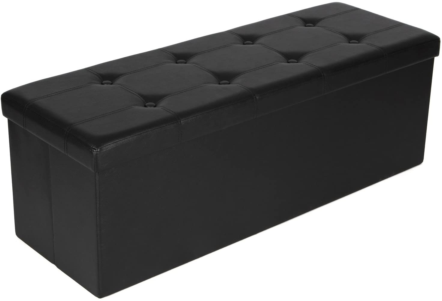 Classier: Buy SONGMICS SONGMICS 43 Inches Folding Storage Ottoman Bench, Storage Chest Footrest Padded Seat, Faux Leather, Black ULSF701
