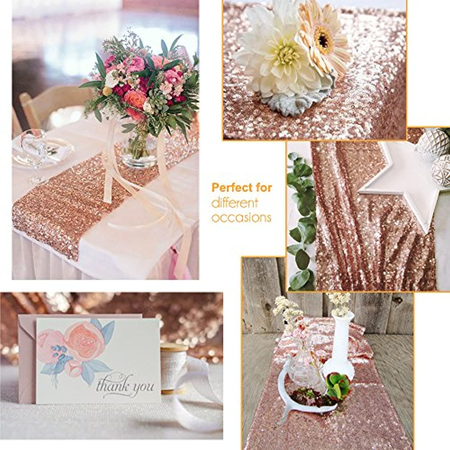 Classier: Buy Acrabros Sequin Table Runners ROSE GOLD- 12 X 72 Inch Glitter ROSE GOLD Table Runner-ROSE GOLD Party Supplies Fabric Decorations For Holiday Christmas Gift Wedding Birthday