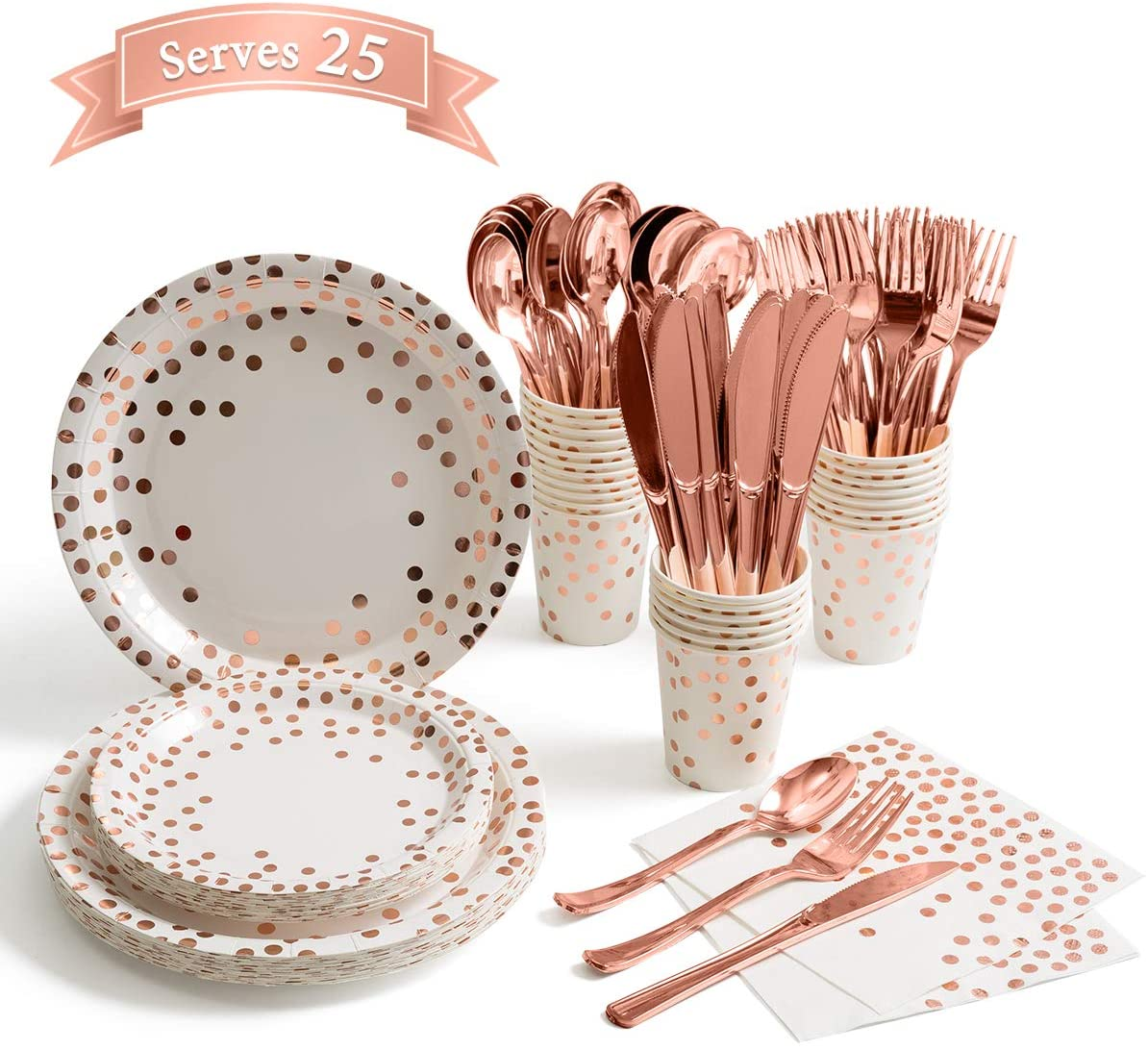Classier: Buy Homix 175 Pieces Rose Gold Party Supplies - Rose Gold Dot on White Paper Plates and Napkins Cups Silverware Serves 25 Sets for Wedding Bridal Shower Engagement Birthday Parties