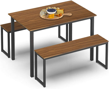 Classier: Buy HOMURY HOMURY 3 Piece Dining Table Set Breakfast Nook Dining Table with Two Benches,Industrial Brown