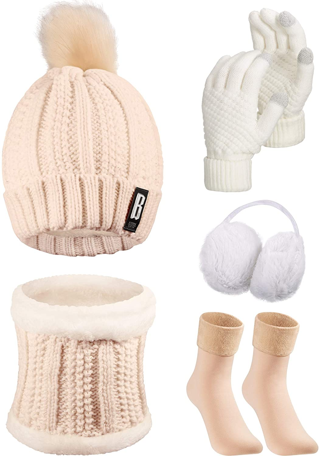 Classier: Buy SATINIOR 5 Pieces Women Winter Ski Outing Set, Knit Hat Scarf Gloves Earmuffs Stockings