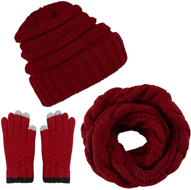 Classier: Buy Aneco Aneco Winter Warm Knitted Scarf Beanie Hat and Gloves Set Men & Women's Soft Stretch Hat Scarf and Mitten Set