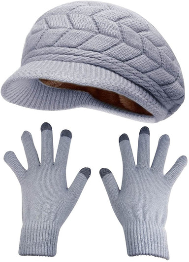 Classier: Buy HINDAWI HINDAWI Winter Hats Gloves for Women Knit Warm Snow Ski Outdoor Caps Touch Screen Mittens