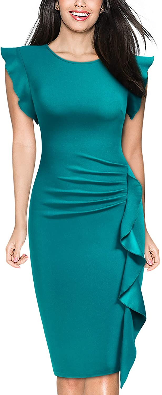 Classier: Buy Miusol Miusol Women's Business Retro Ruffles Slim Cocktail Pencil Dress