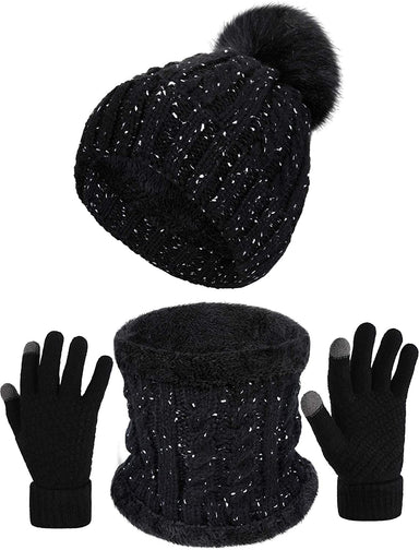Classier: Buy SATINIOR 3 Pieces Women Winter Set, Faux Fur Pom Beanie Hat, Knit Scarf and Gloves Set