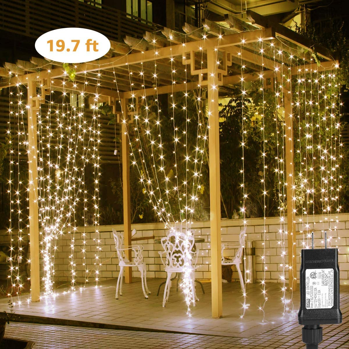 Classier: Buy Lighting EVER LE LED Curtain Lights, 19.7x9.8ft, 594 LED, 8 Modes, Plug in Twinkle Lights, Warm White, Indoor Outdoor Decorative Wall Window String Lights for Bedroom, Party, Wedding Backdrop, Patio Décor and More