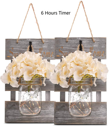 Classier: Buy GBtroo GBtroo Rustic Brown Mason Jar Sconces for Wall Decor, Decorative Chic Hanging House Decor Mason Jars with LED Strip Lights, 6-Hour Timer, Silk Hydrangea, Iron Hooks for Home & Kitchen Decorations