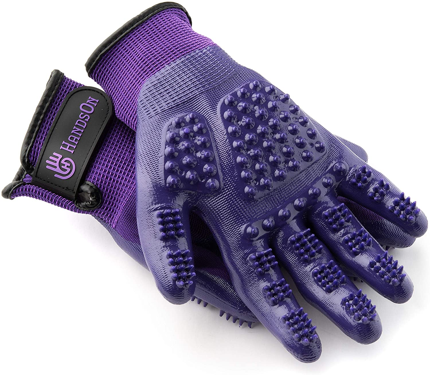 Classier: Buy H HANDSON HandsOn Pet Grooming Gloves - Patented #1 Ranked, Award Winning Shedding, Bathing, & Hair Remover Gloves - Gentle Brush for Cats, Dogs, and Horses