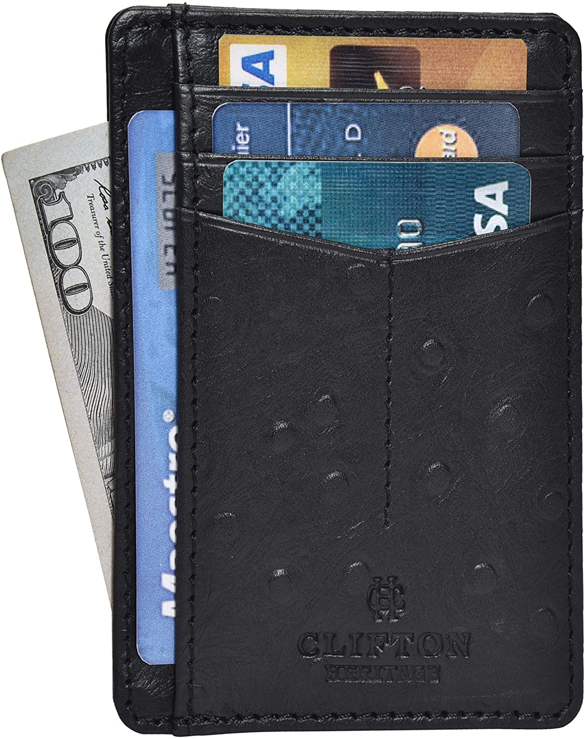 Classier: Buy Clifton Heritage Leather Minimalist Wallets For Men RFID Blocking Slim Front Pocket Card Wallet