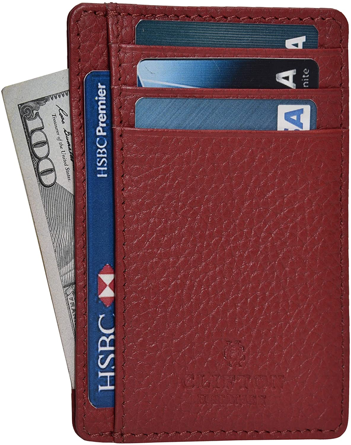 Classier: Buy Clifton Heritage Minimalist Wallets for Men & Women RFID Front Pocket Leather Card Holder Wallet