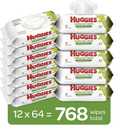 Classier: Buy HUGGIES Huggies Natural Care Sensitive Baby Wipes, Unscented, 12 Flip-Top Packs (768 Wipes Total)
