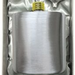 Hip Flask Satin Gold Lid Rounded + Funnel Gift Box