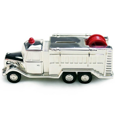Money Box Silver Plated Fire Engine Red Light