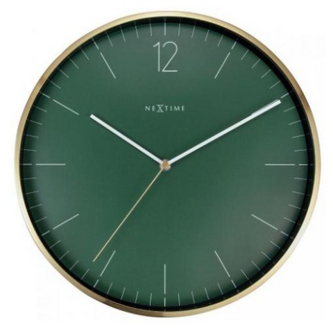 Clock Nextime Essential Gold 34cm Forest Green