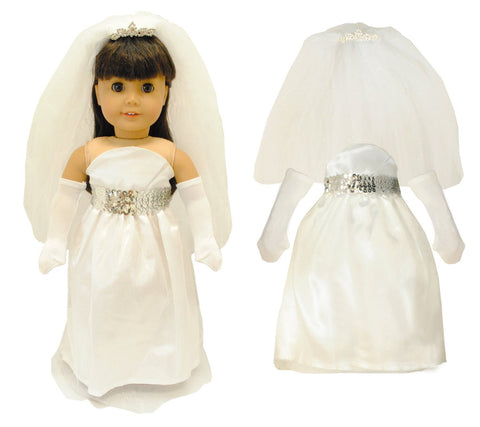 "Doll Clothes Fits American Girl & Other 18"" Inch Dolls White Bridal Dress"