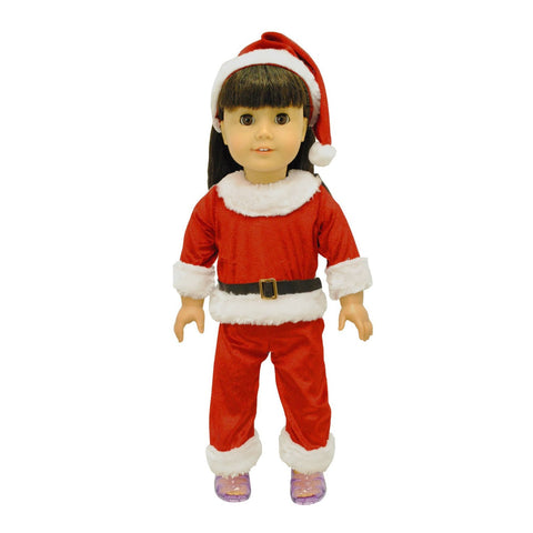 "Doll Clothes Fits American Girl 18"" Inch Dress Santa Costume Christmas Outfit"