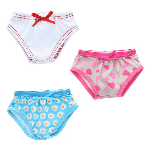 "Doll Clothes Fits American Girl 18"" Underwear Panties Set Of 3 Undies"