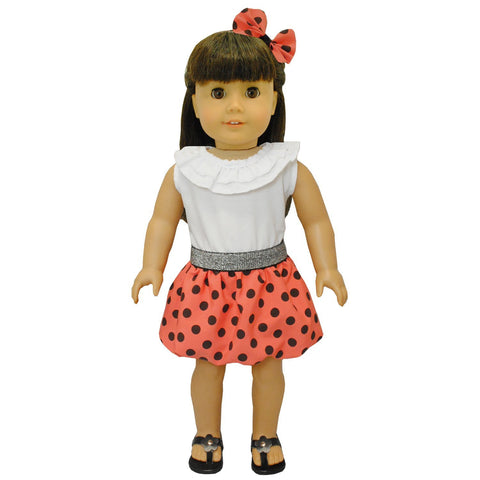 "Doll Clothes Fits American Girl & Other 18"" Inch Dolls Red Polka Dots Dress"