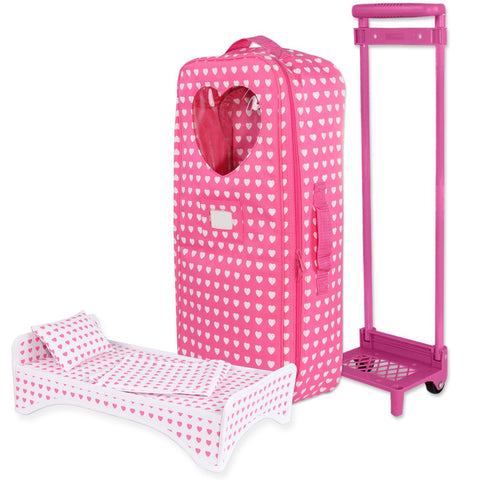 "Doll Clothes Fits American Girl & Other 18"" Inch Dolls Carrier Trolly Bag Travel Acessories"