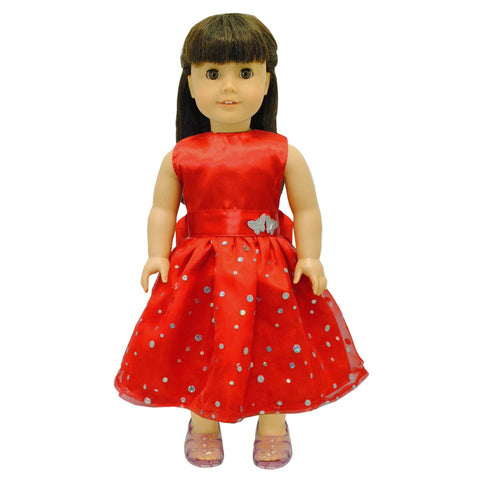 "Doll Clothes Fits American Girl & Other 18"" Inch Dolls Beautiful Red Dress"