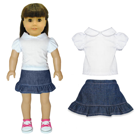 "Doll Clothes Fits American Girl 18"" Inch Jean Skirt & White Shirt Outfit"
