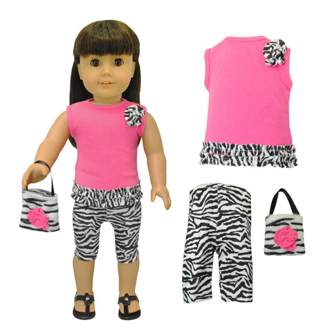 "Doll Clothes Fits American Girl & Other 18"" Inch Dolls Capri Zebra Dress Outfit"
