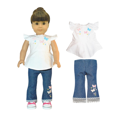 "Doll Clothes Fits American Girl 18"" Inch Outfit Jeans Butterfly Pants"