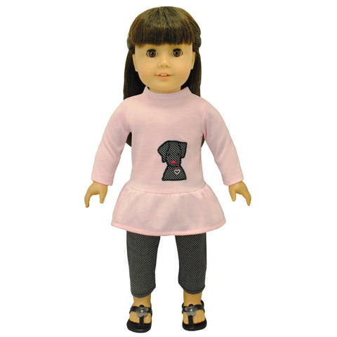 "Doll Clothes Fits American Girl 18"" Inch Legging & Pink Shirt Outfit"
