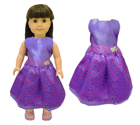 "Doll Clothes Fits American Girl & Other 18"" Inch Dolls Beautiful Purple Dress"