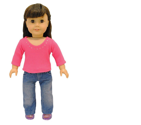 "Doll Clothes Fits American Girl 18"" Inch Long Sleeve & Pants Pink Outfit"