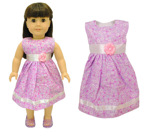 "Doll Clothes Fits American Girl 18"" Inch Outfit Pink Flower Dress"