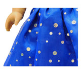 "Doll Clothes Fits American Girl 18"" Inch Outfit Blue Princess Dress"