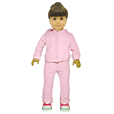 "Doll Clothes Fits American Girl 18"" Inch Pink Hoodie & Sweatpants Outfit"