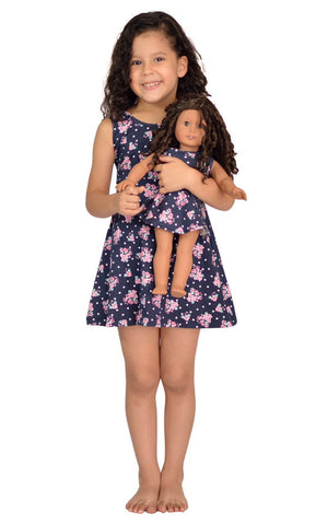 "Doll Clothes Fits American Girl 18"" Inch Matching Girl & Doll Flower Dress"