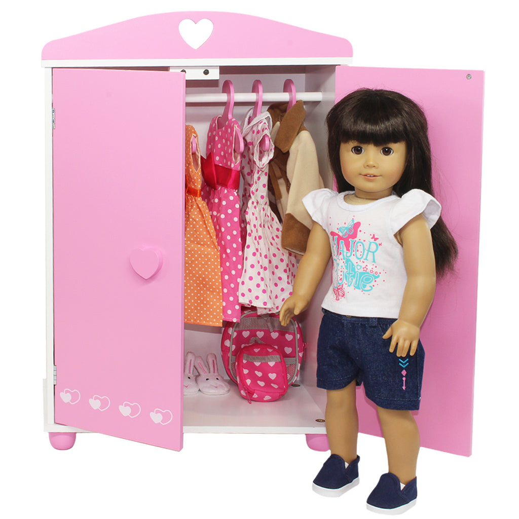 doll armoire furniture storage closet for american girl other 18 inch dolls - American Girl Doll Armoire