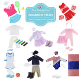 "Doll Clothes Fits American Girl & Other 18"" Inch Dolls 6 Pieces Sports Outfits Set"