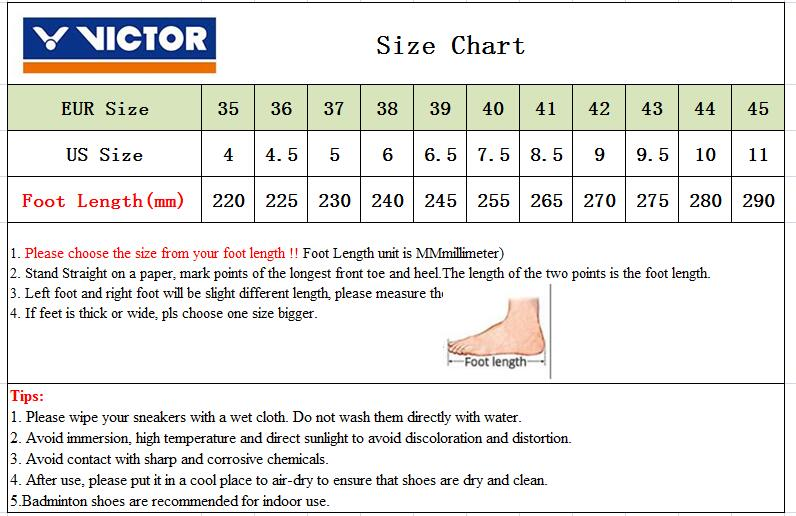 victor shoe sizing chart