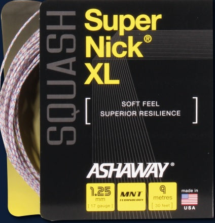 Ashaway SuperNick XL Squash String - White/Black/Red