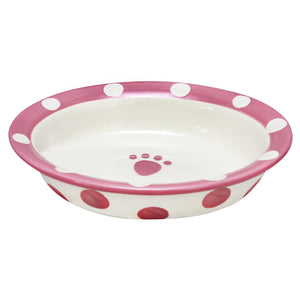 Polka Paws Ceramic Oval Cat Bowl