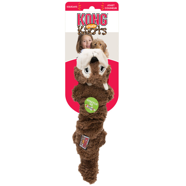 KONG Scrunch Knots Squirrel Stretchy Soft Squeak Dog Toy